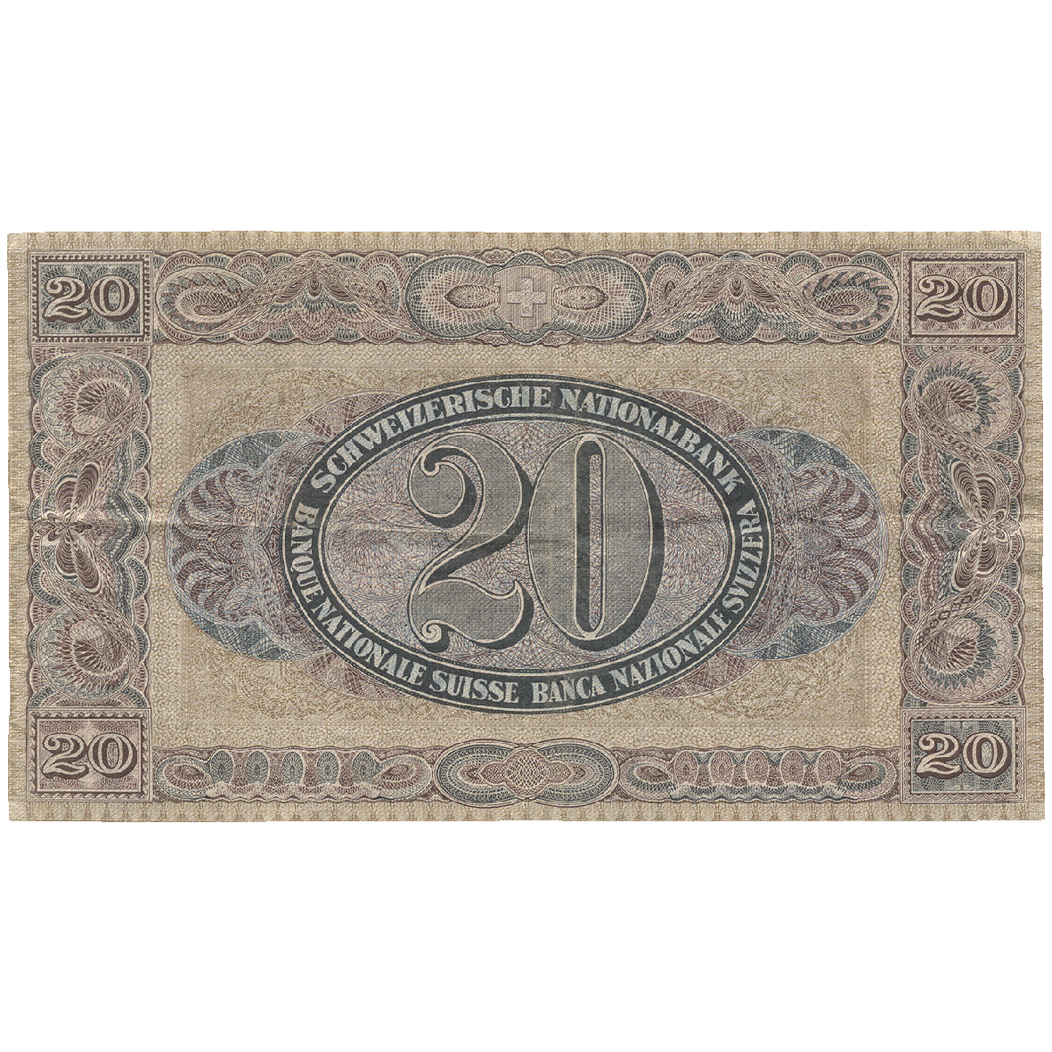 Swiss Conferderation, Swiss National Bank, 20 Franks 1927 (reverse)