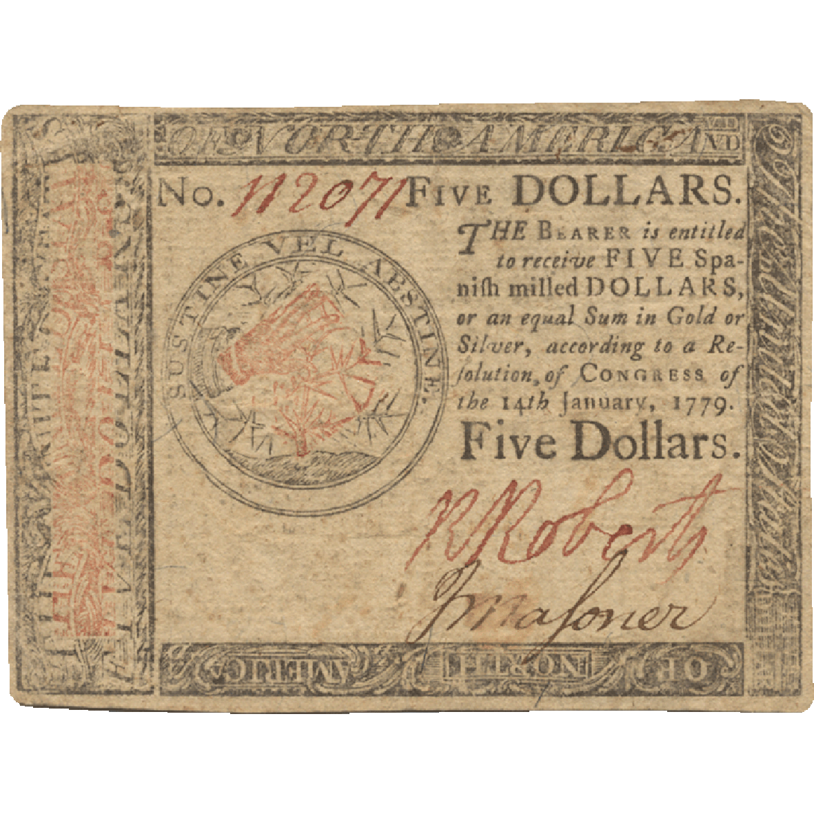 United States of America, 5 Dollars 1779 (obverse)