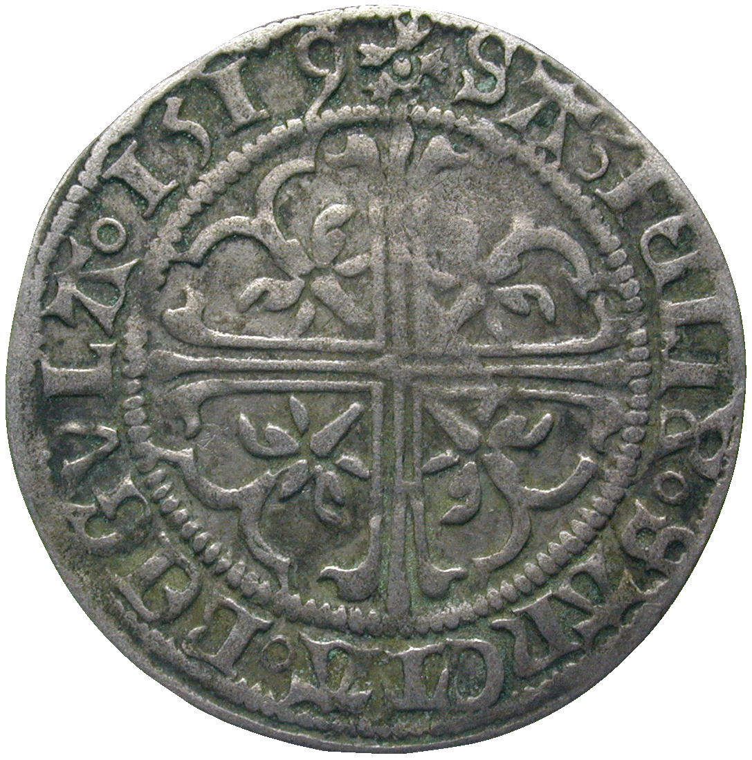 Holy Roman Empire, City of Zurich, Batzen 1519 (reverse)