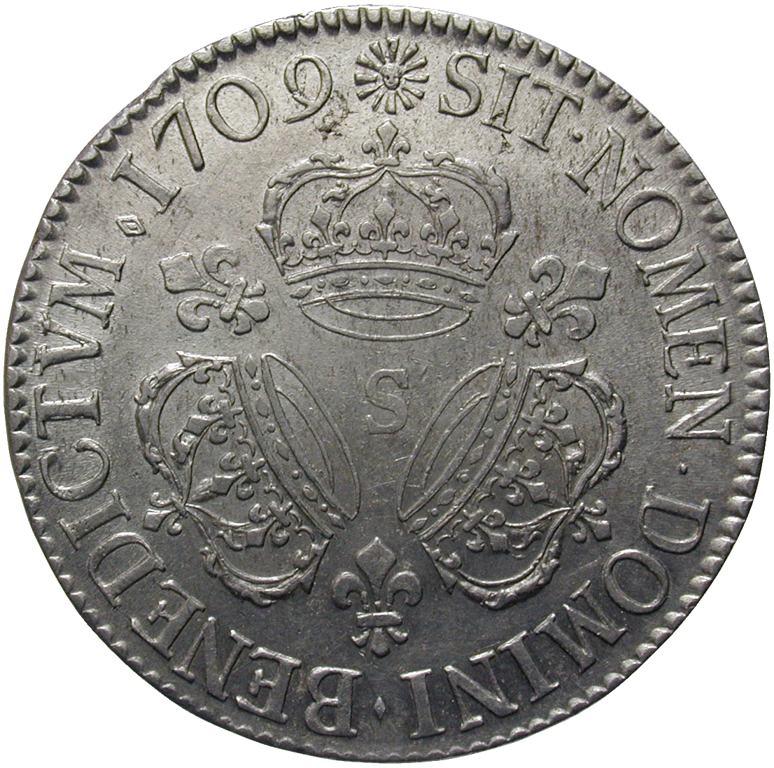 Kingdom of France, Louis XIV, Ecu 1709 (reverse)