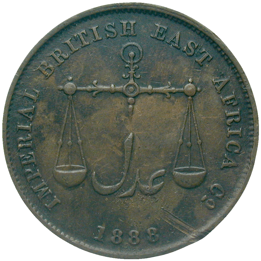 British East Africa, British East African Company for Kenya, Pice 1888 (reverse)