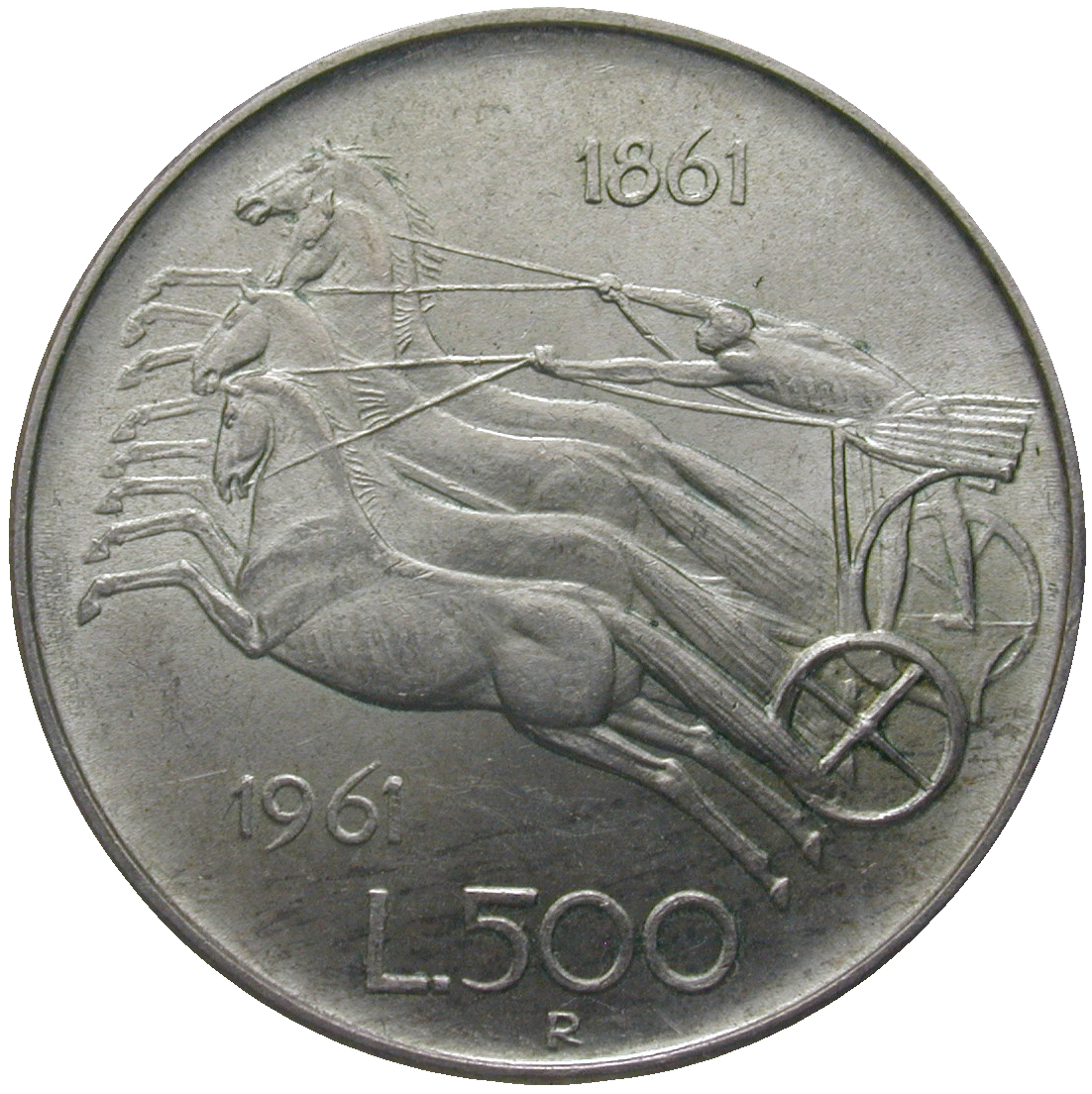 Republic of Italy, 500 Lire 1961 (reverse)