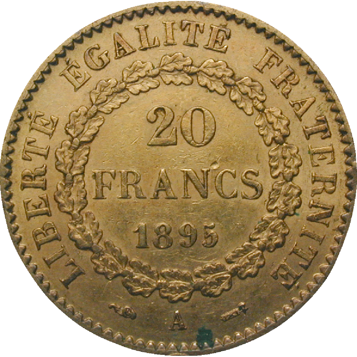 Republic of France, 20 Francs 1895 (reverse)
