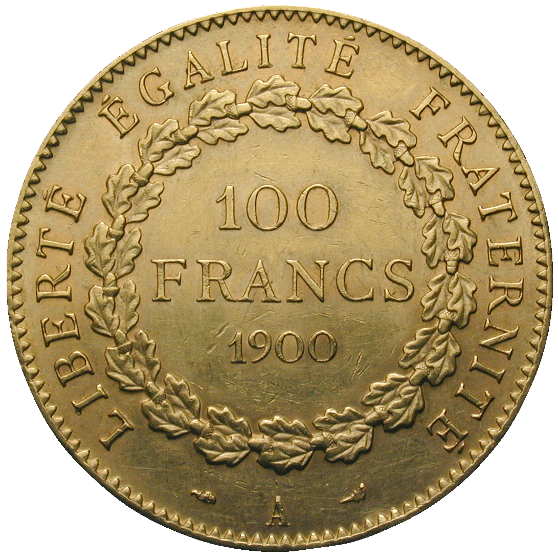 Republic of France, 100 Francs 1900 (reverse)
