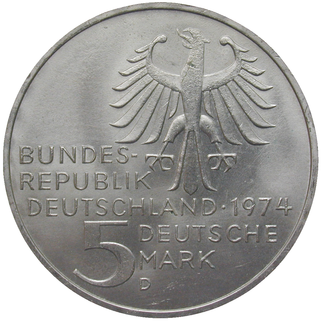 Federal Republic of Germany, 5 Deutsche Mark 1974 (obverse)