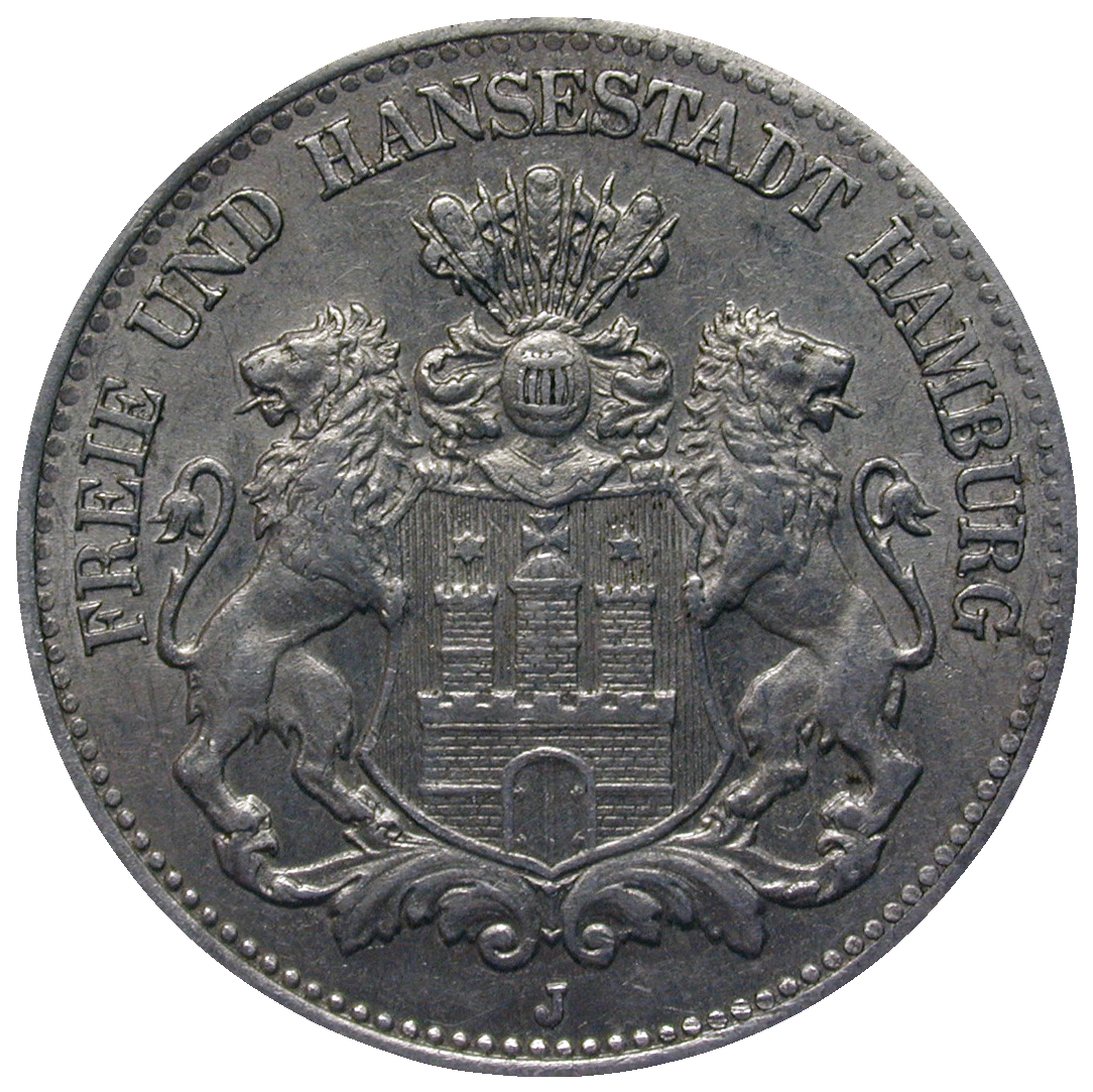 German Empire, Weimar Republic, Free and Hanseatic City of Hamburg, Emergency Issue 1/2 Million Mark 1923 (obverse)