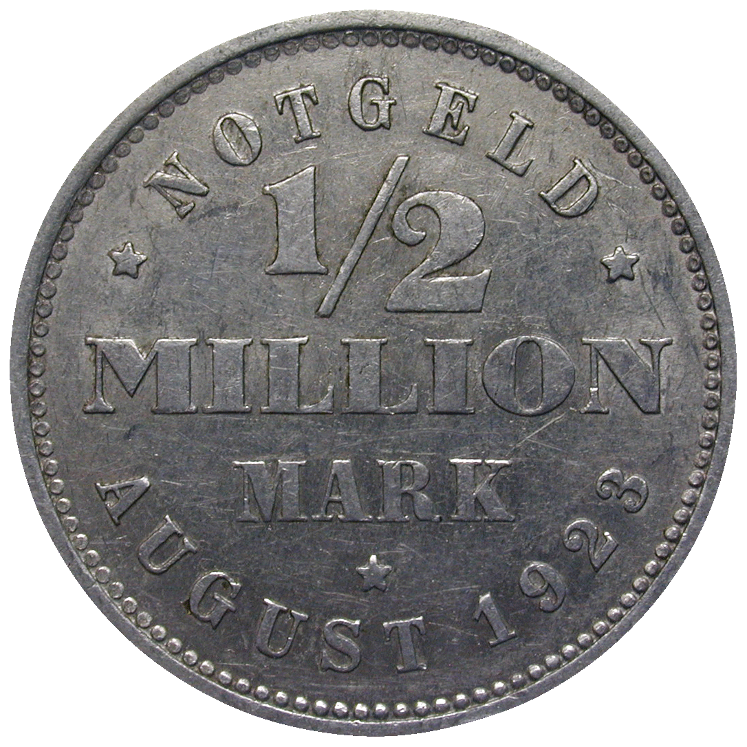 German Empire, Weimar Republic, Free and Hanseatic City of Hamburg, Emergency Issue 1/2 Million Mark 1923 (reverse)