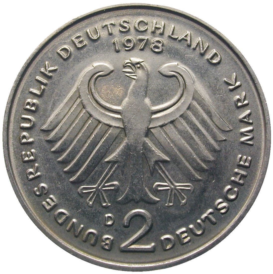 Federal Republic of Germany, 2 Deutsche Mark 1978 (obverse)