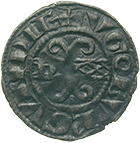 Kingdom of France, Duchy of Burgundy, Hugh V, Denier (obverse)