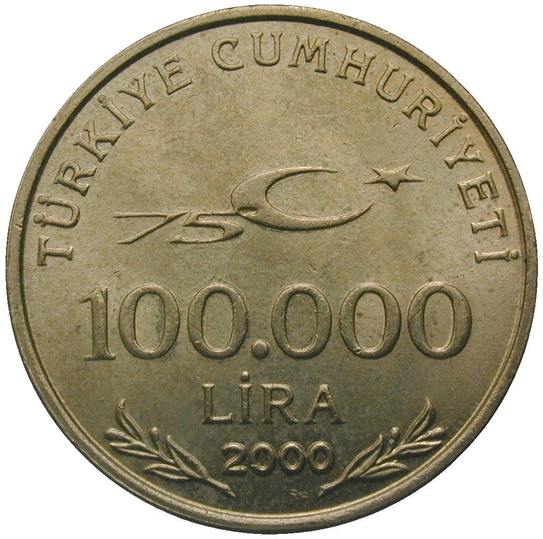 Republic of Turkey, 100,000 Lira 2000 (obverse)