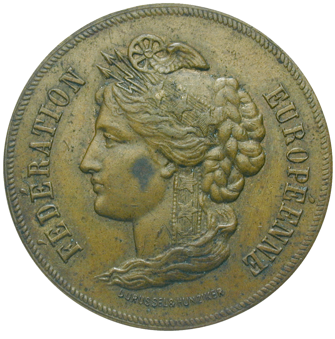 Swiss Confederation, Private Proof Issue of 20 Ronds by the Medallist Edouard Durussel (obverse)