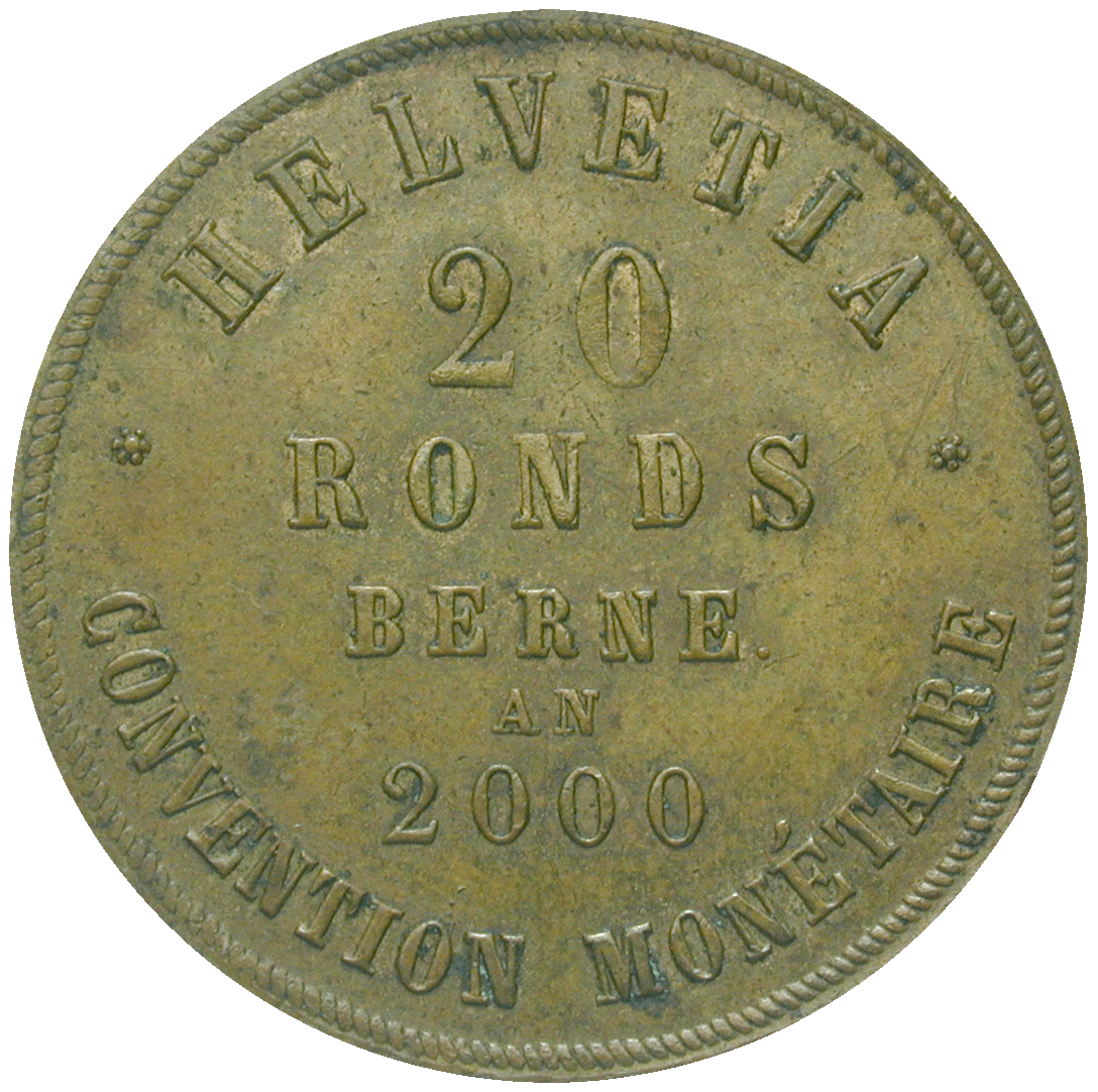 Swiss Confederation, Private Proof Issue of 20 Ronds by the Medallist Edouard Durussel (reverse)