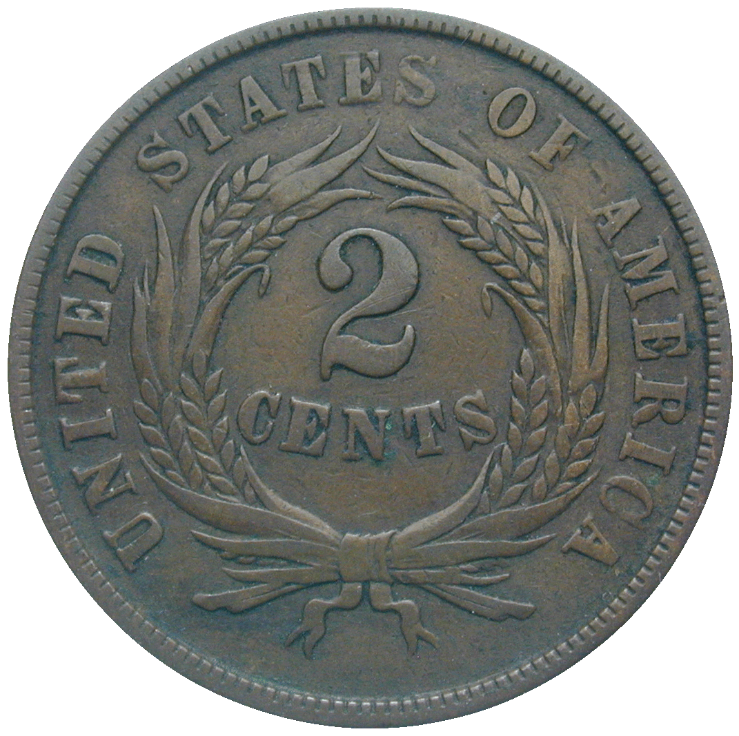 United States of America, 2 Cents 1864 (reverse)