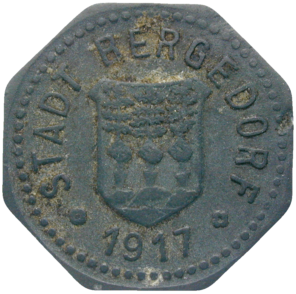 German Empire, Wilhelm II, Town of Bergedorf, Emergency Issue worth 5 Pfennig, 1917 (obverse)