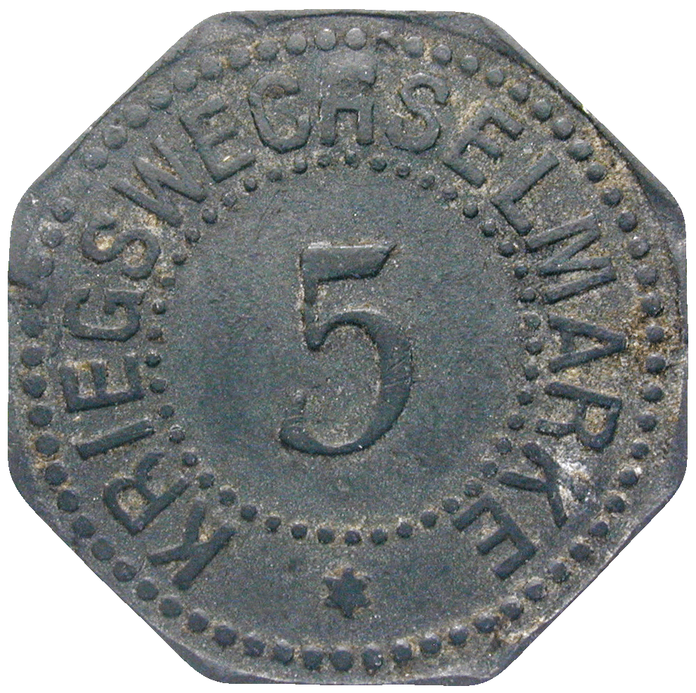German Empire, Wilhelm II, Town of Bergedorf, Emergency Issue worth 5 Pfennig, 1917 (reverse)