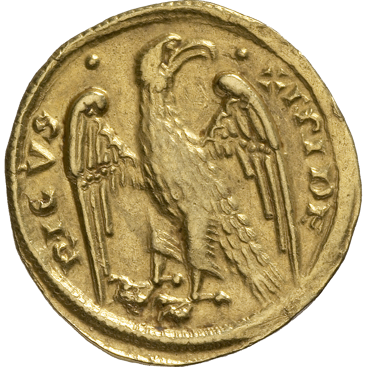Holy Roman Empire, Frederick II of Hohenstaufen, 1/2 Augustalis (reverse)