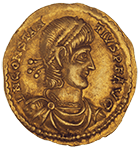 Roman Empire, Imitation of a Solidus in the Name of Constantius II (obverse)