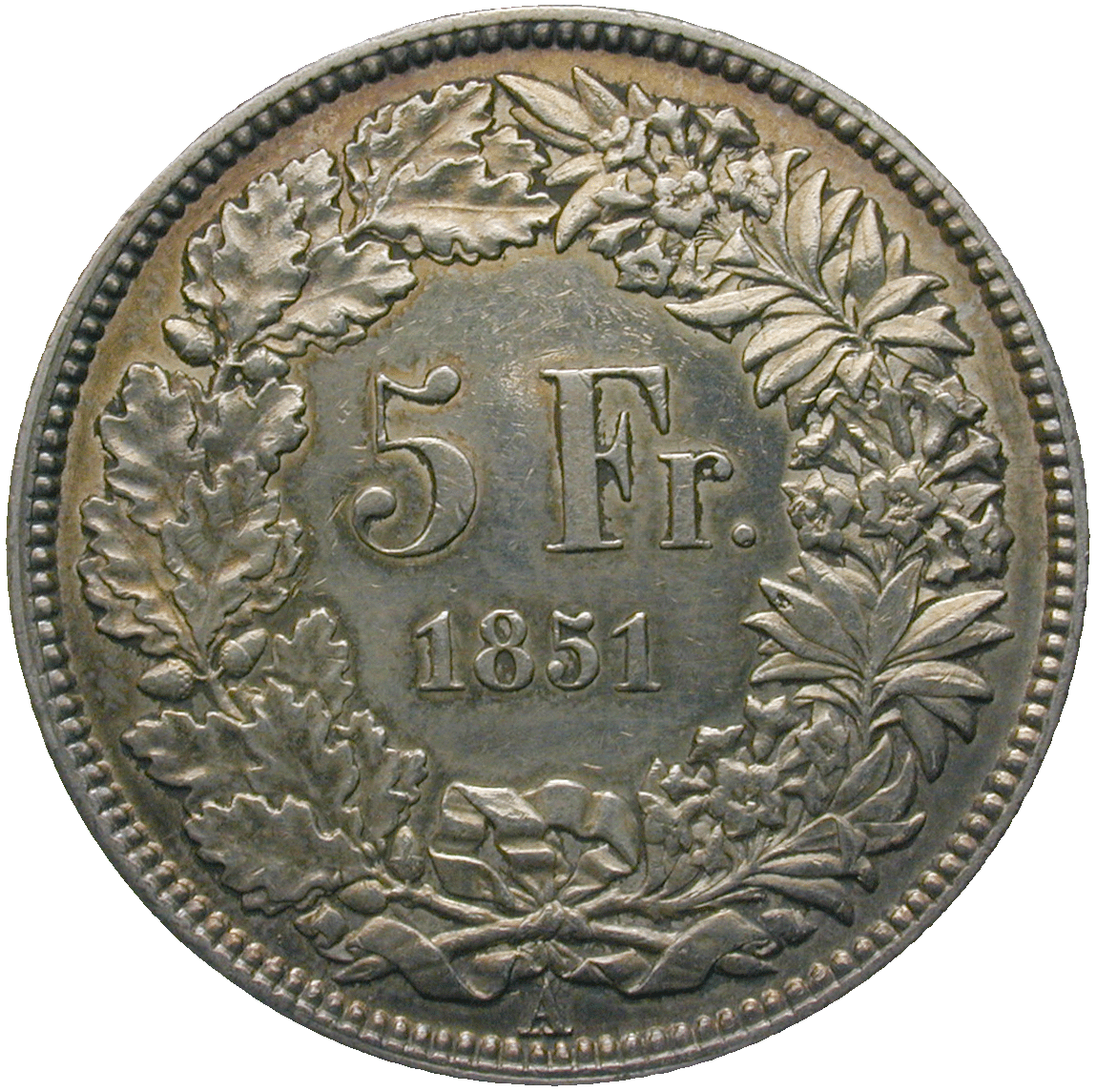 Swiss Confederation, 5 Francs 1851 (reverse)