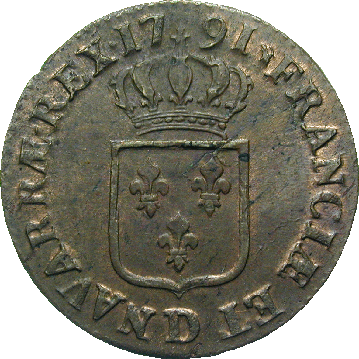 Kingdom of France, Louis XVI, Sol 1791 (reverse)