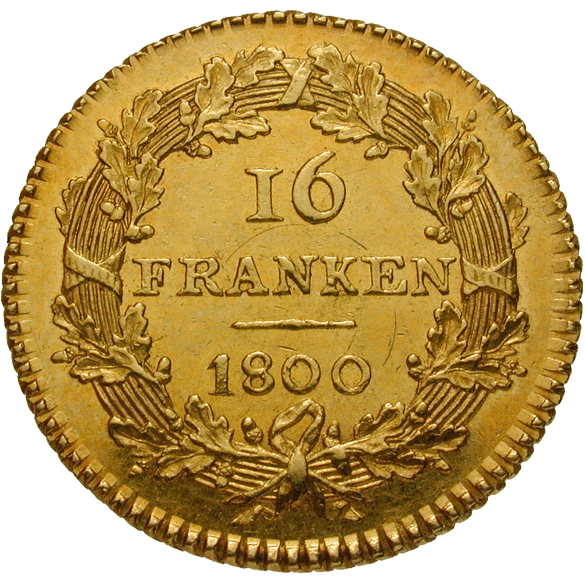 Helvetic Republic, 16 Francs 1800 (reverse)