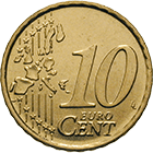 Republic of Italy, 10 Euro Cent 2002 (obverse)