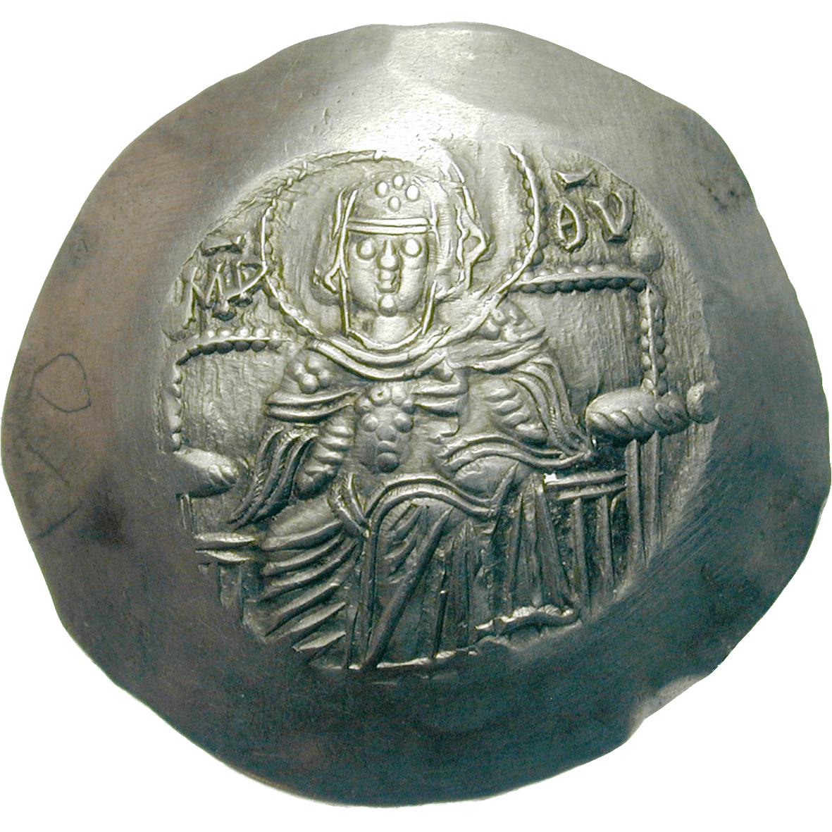 Byzantine Empire, Isaac II Angelos, Aspron Trachy (obverse)