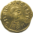 Frankish Empire, Merovinginians, Theudebert, Tremissis (obverse)