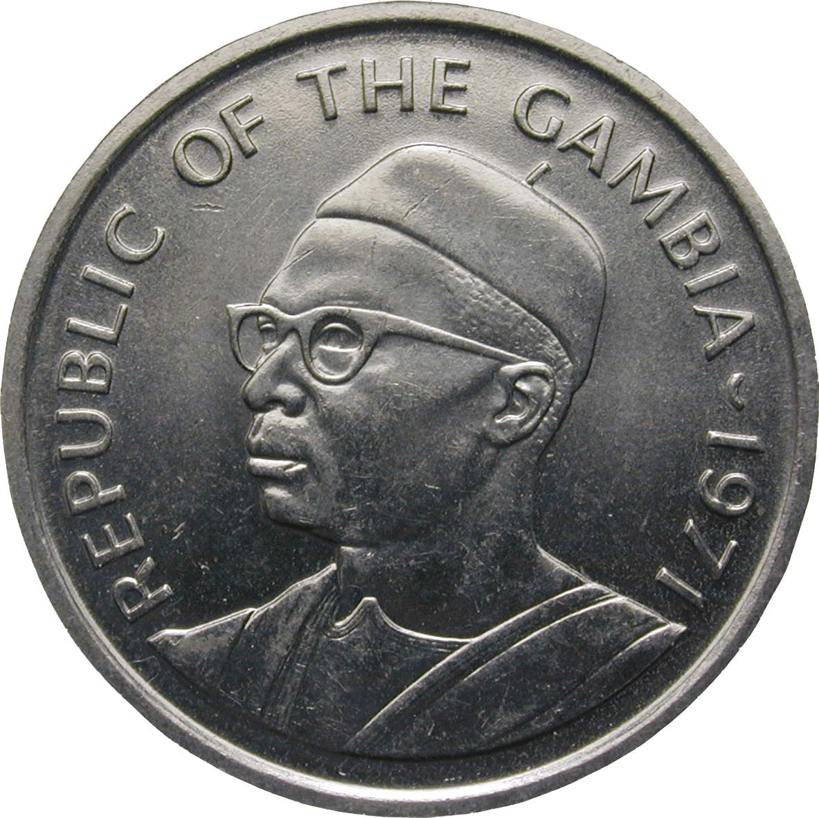 Republic of Gambia, 50 Bututs 1971 (obverse)