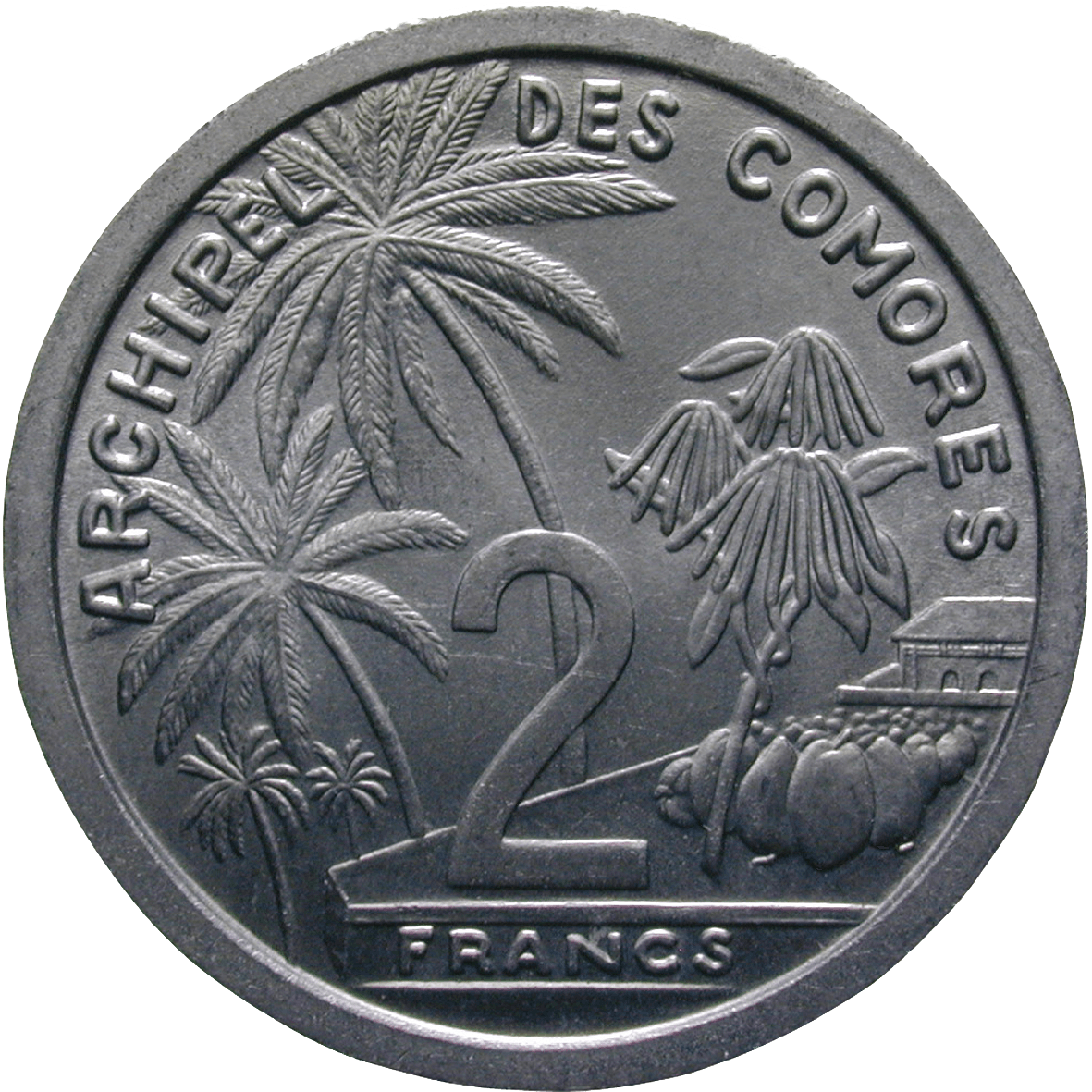 Republic of France for the Comoros, 2 Francs 1964 (reverse)