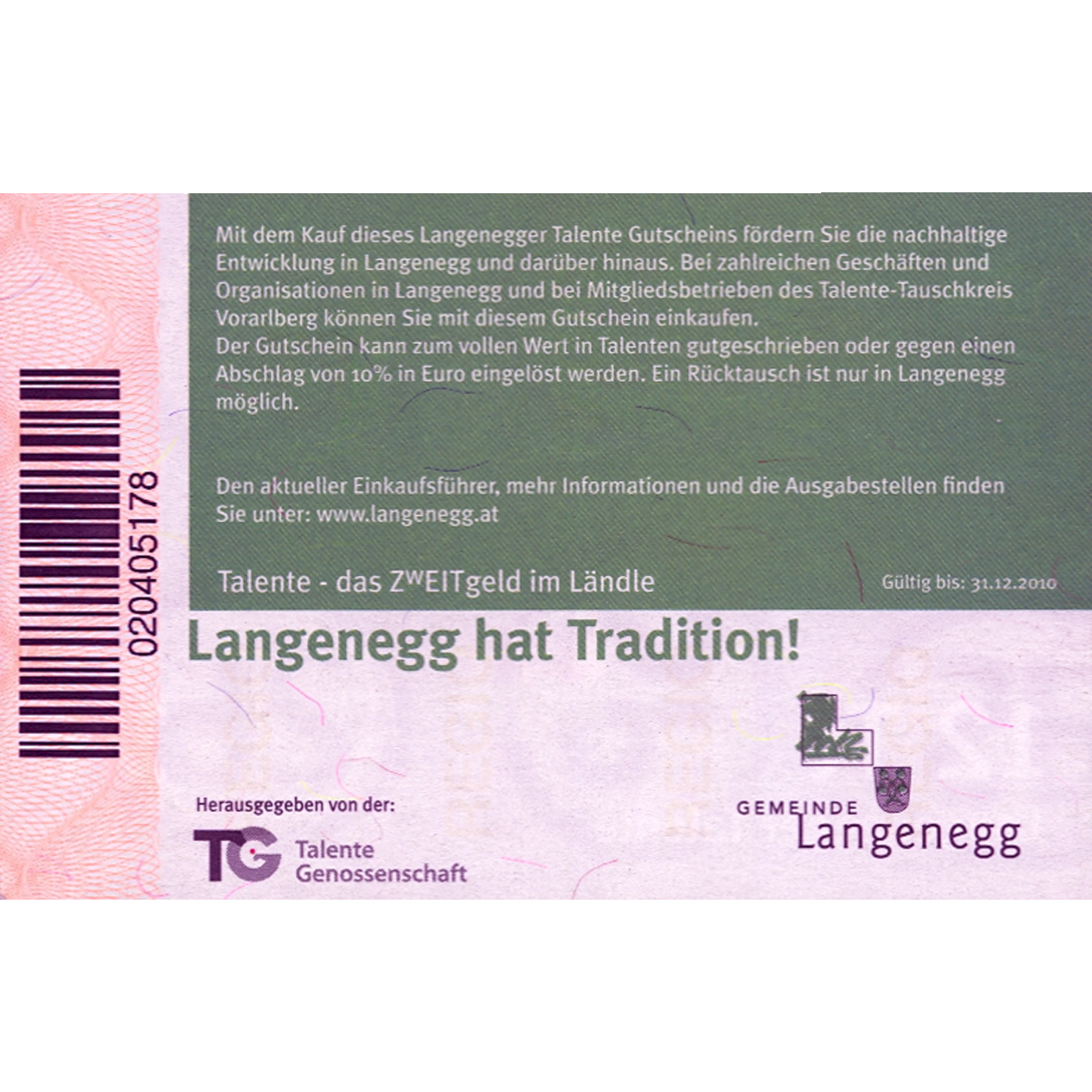 Austria, Community of Langenegg, 12 Langenegger Talents, valid until 12/31/2010 (reverse)