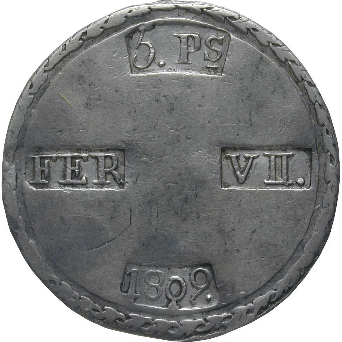 Kingdom of Spain, Ferdinand VII, 5 Pesetas 1809 (reverse)