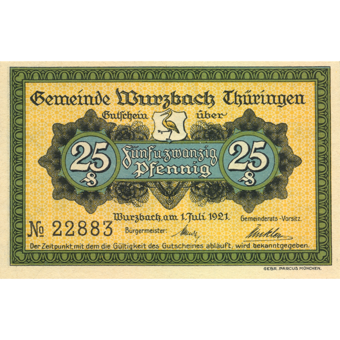German Empire, Weimar Republic, Wurzbach, Emergency Issue worth 25 Pfennig 1921 (obverse)