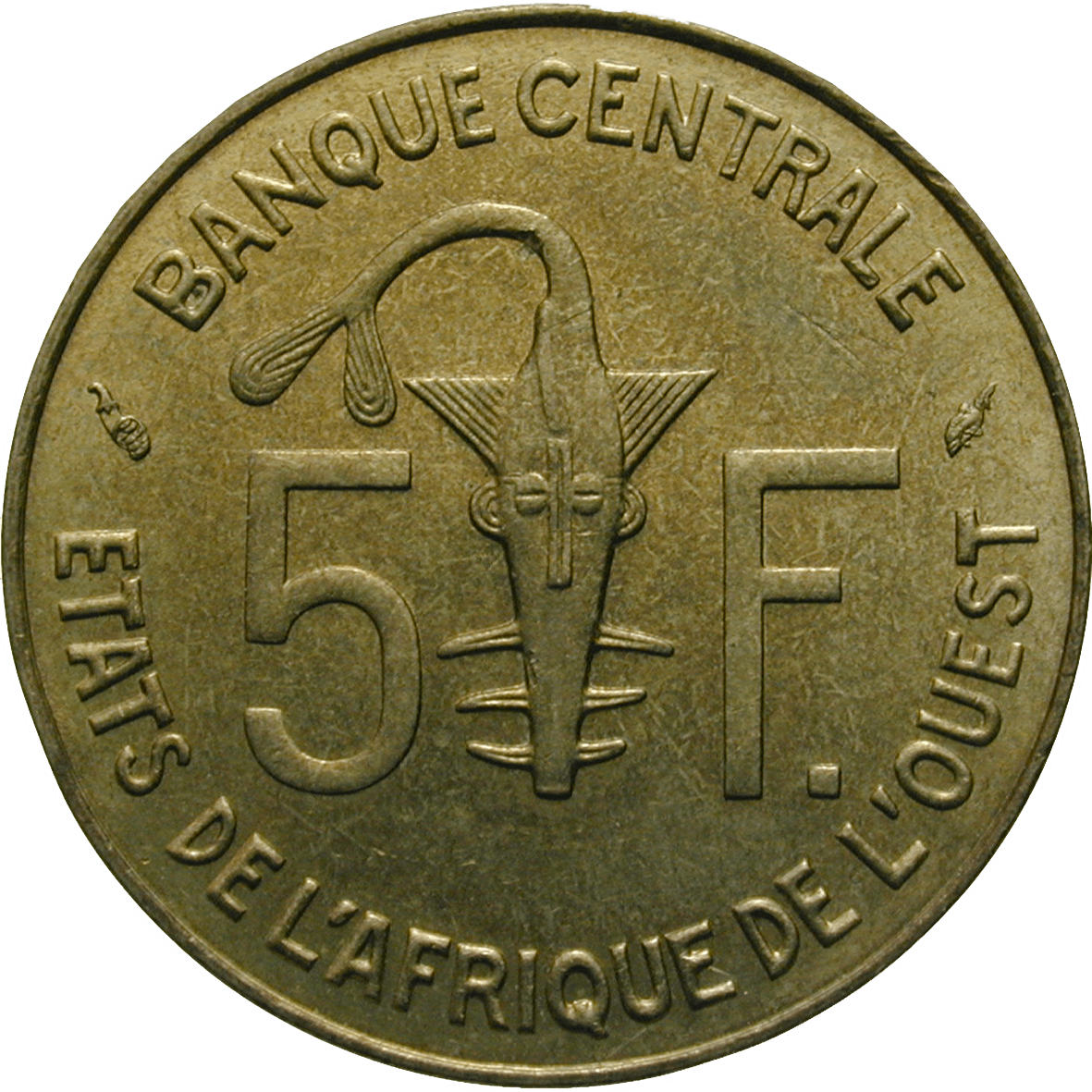 West African Monetary Union, 5 CFA Francs 1977 (obverse)