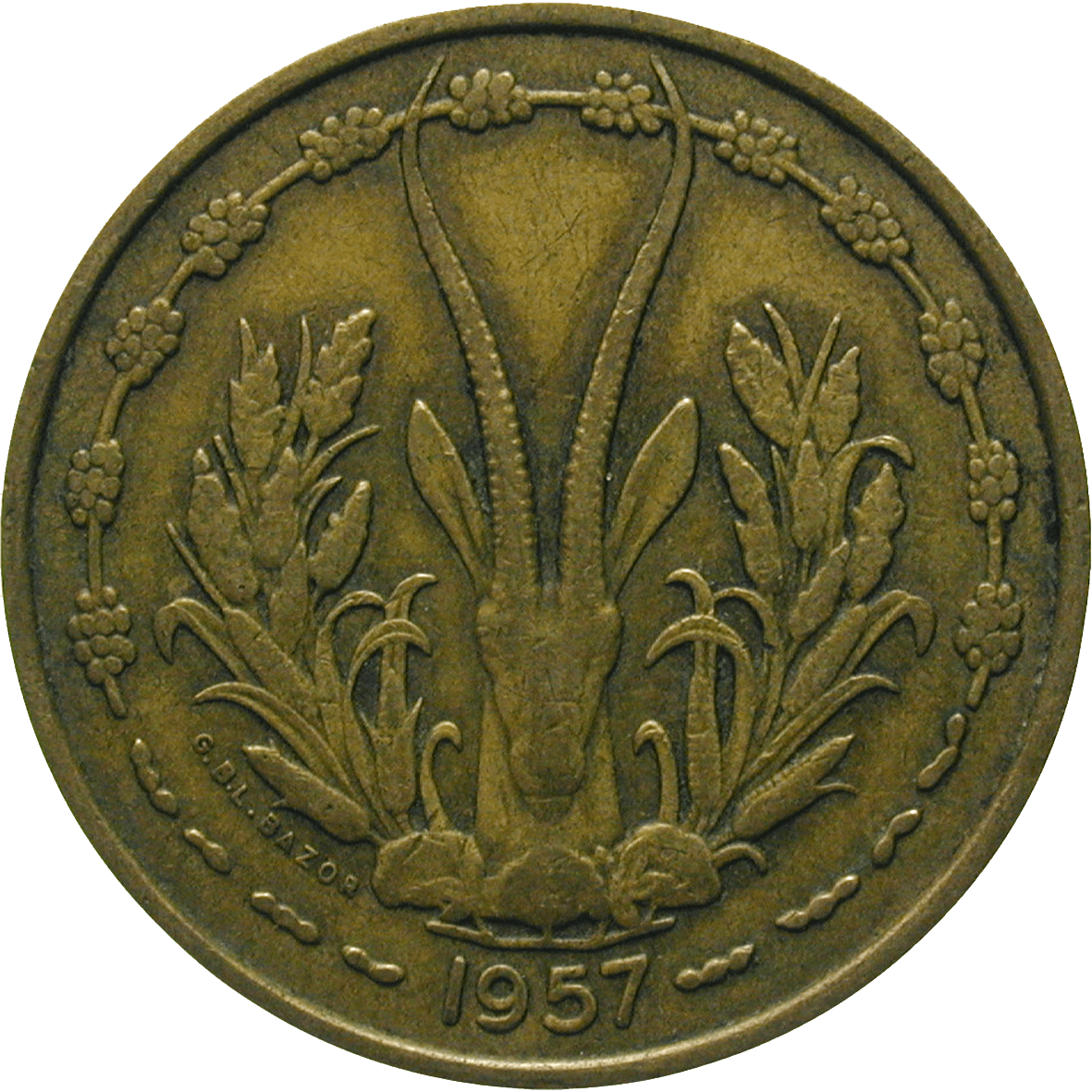 Republic of France for French West Africa, 25 Francs 1957 (reverse)