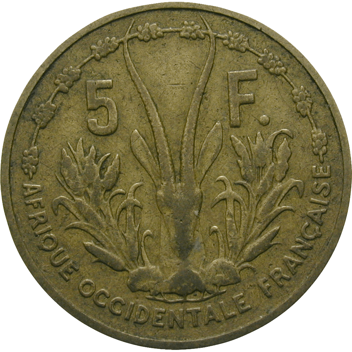 Republic of France for French West Africa, 5 Francs 1956 (reverse)