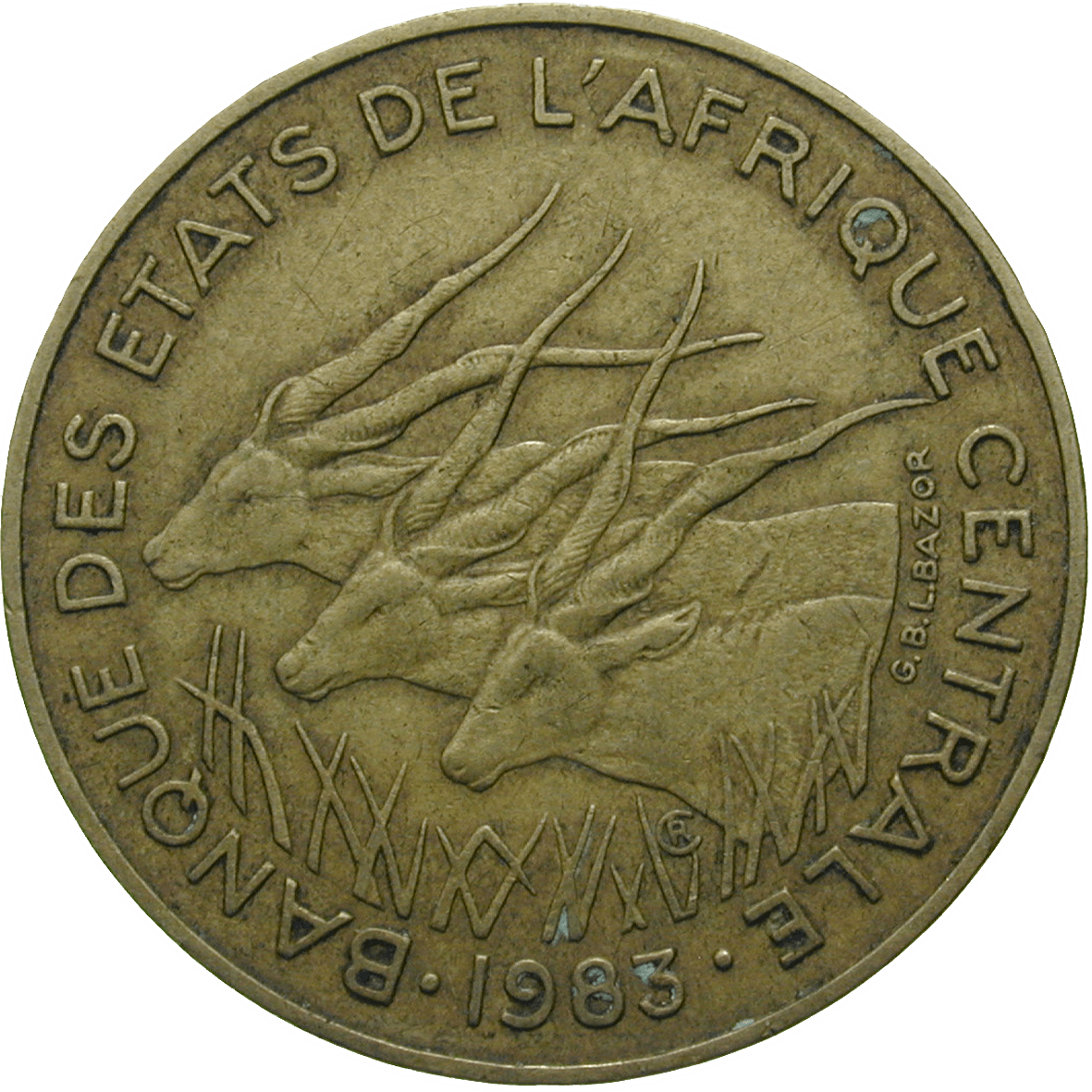 Central African Monetary Union, 10 CFA Francs 1983 (obverse)