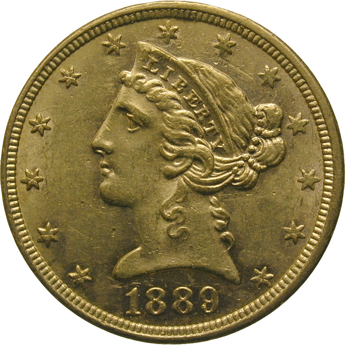 United States of America, 5 Dollars 1889 (obverse)