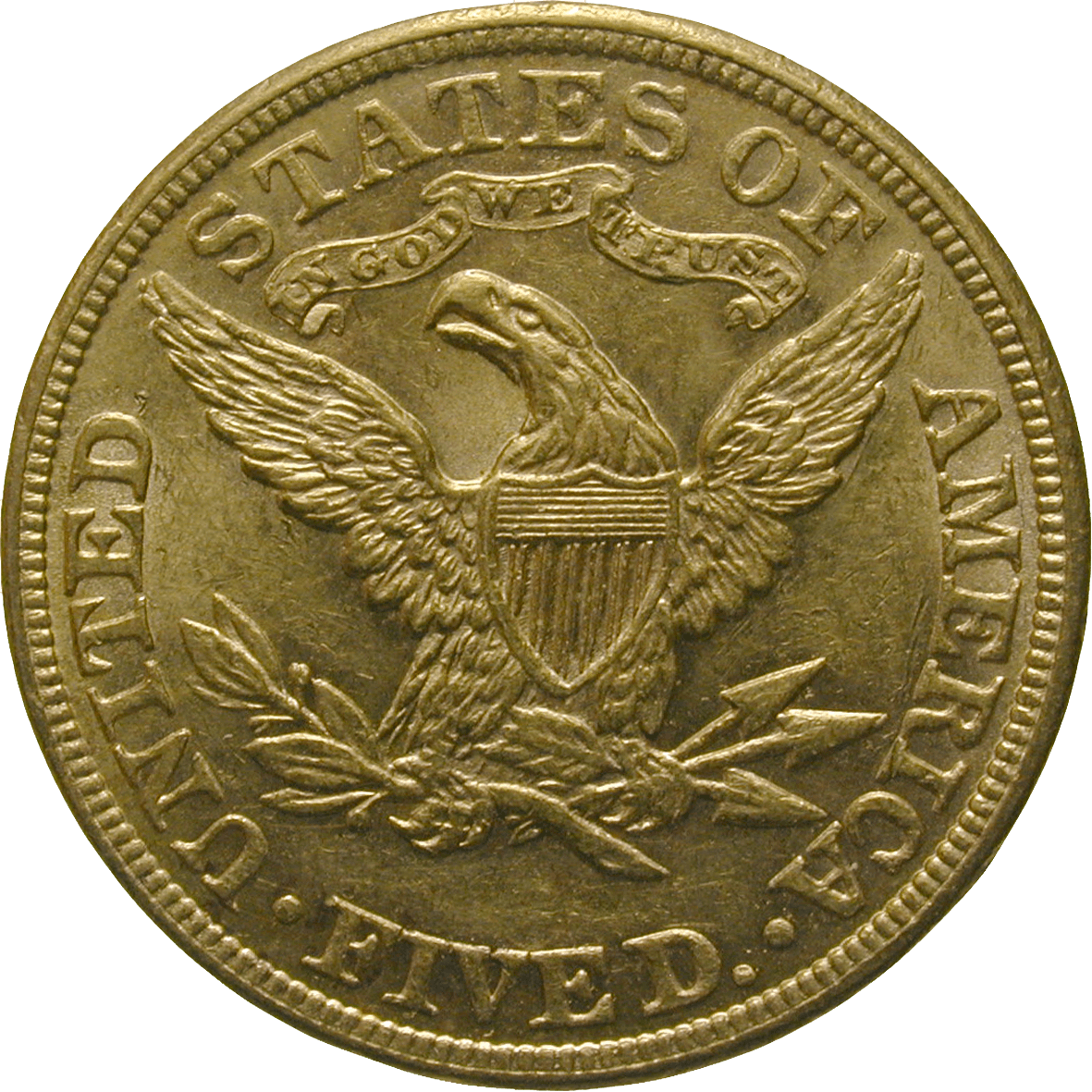 United States of America, 5 Dollars 1889 (reverse)