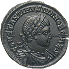Roman Empire, Constantine II as Caesar, Bronze Coin (obverse)
