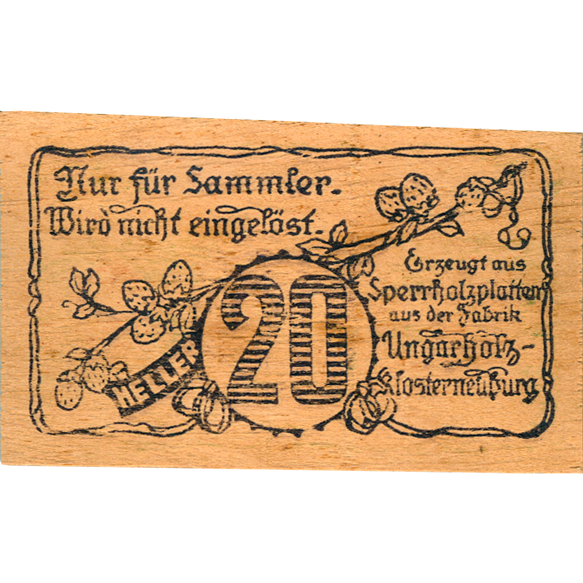 Republic of Austria, Community of Hadersfeld in the Wienerwald, 20 Heller (reverse)