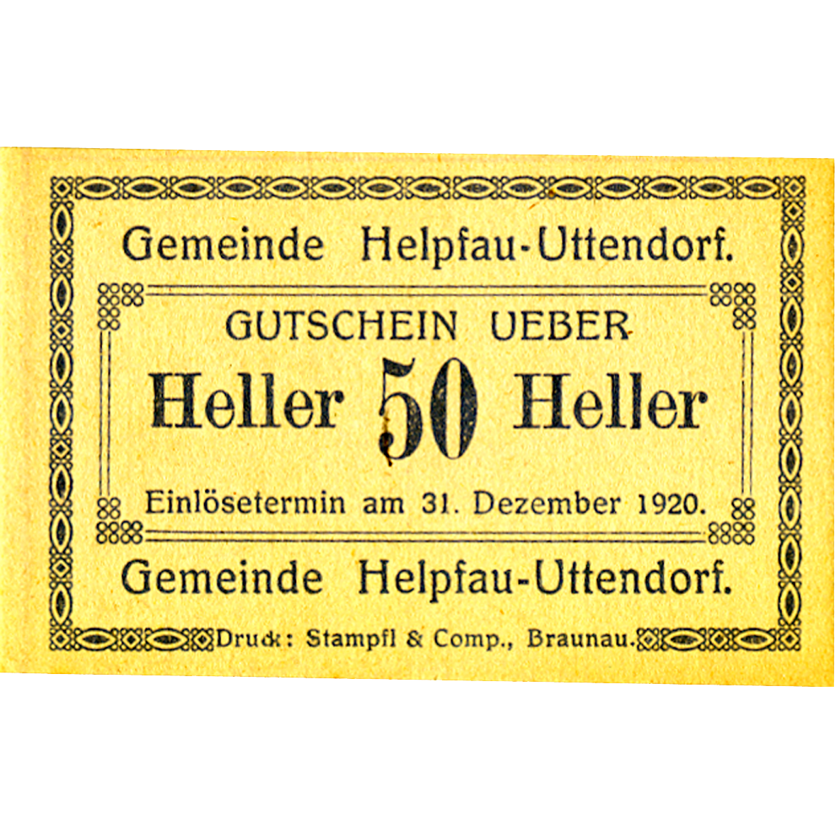 Republic of Austria, Community of Helpfau-Uttendorf, 50 Heller 1920 (obverse)