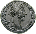 Römische Kaiserzeit, Mark Aurel, As (obverse)