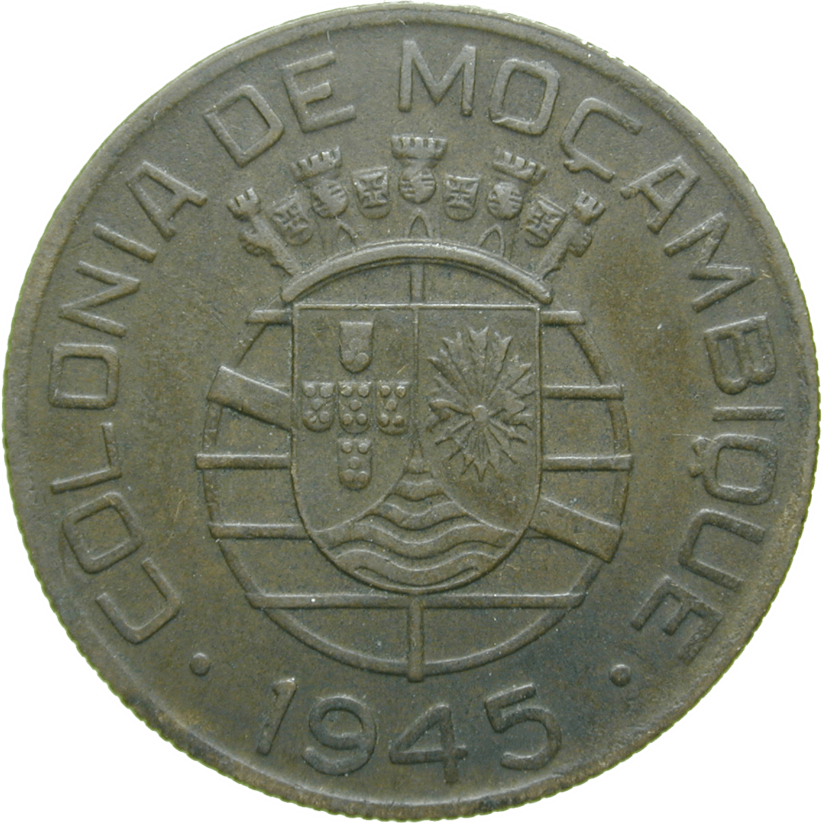 Republic of Portugal for Mozambique, 1 Escudo 1945 (reverse)