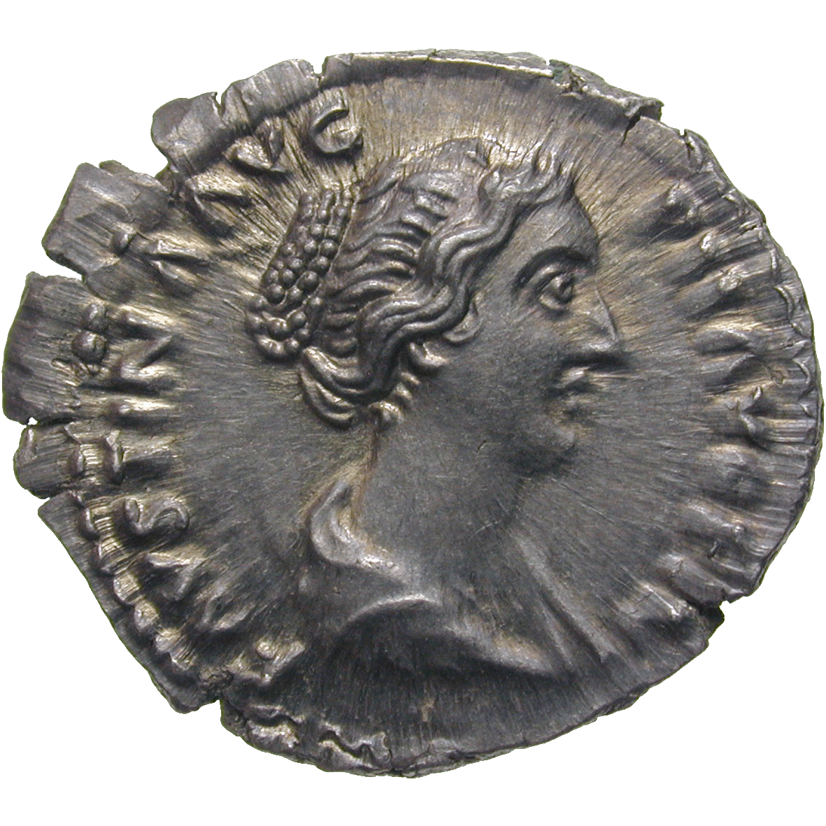 Roman Empire, Marcus Aurelius for Faustina Minor, Denarius (obverse)