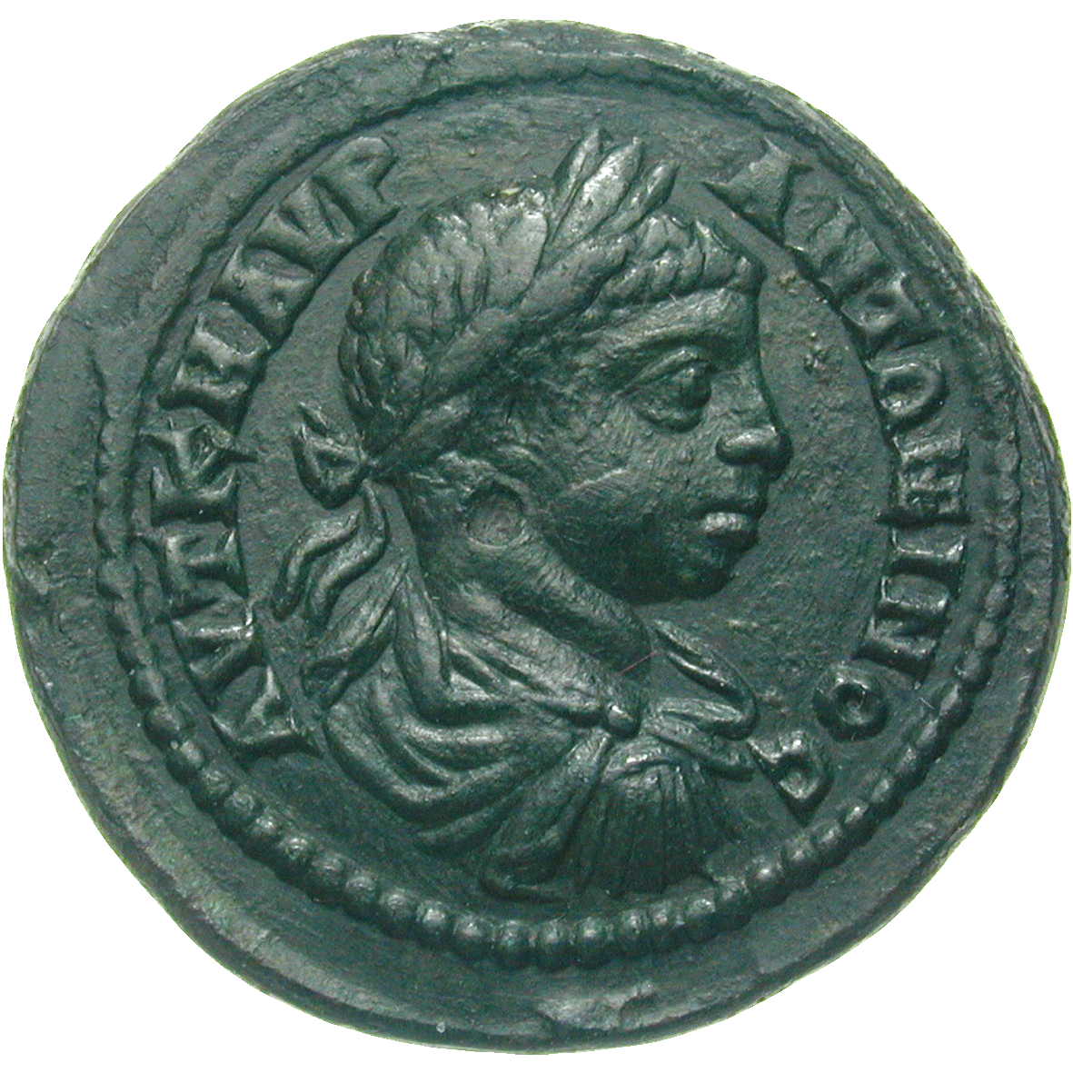 Roman Empire, Elagabalus, Double Assarion (obverse)