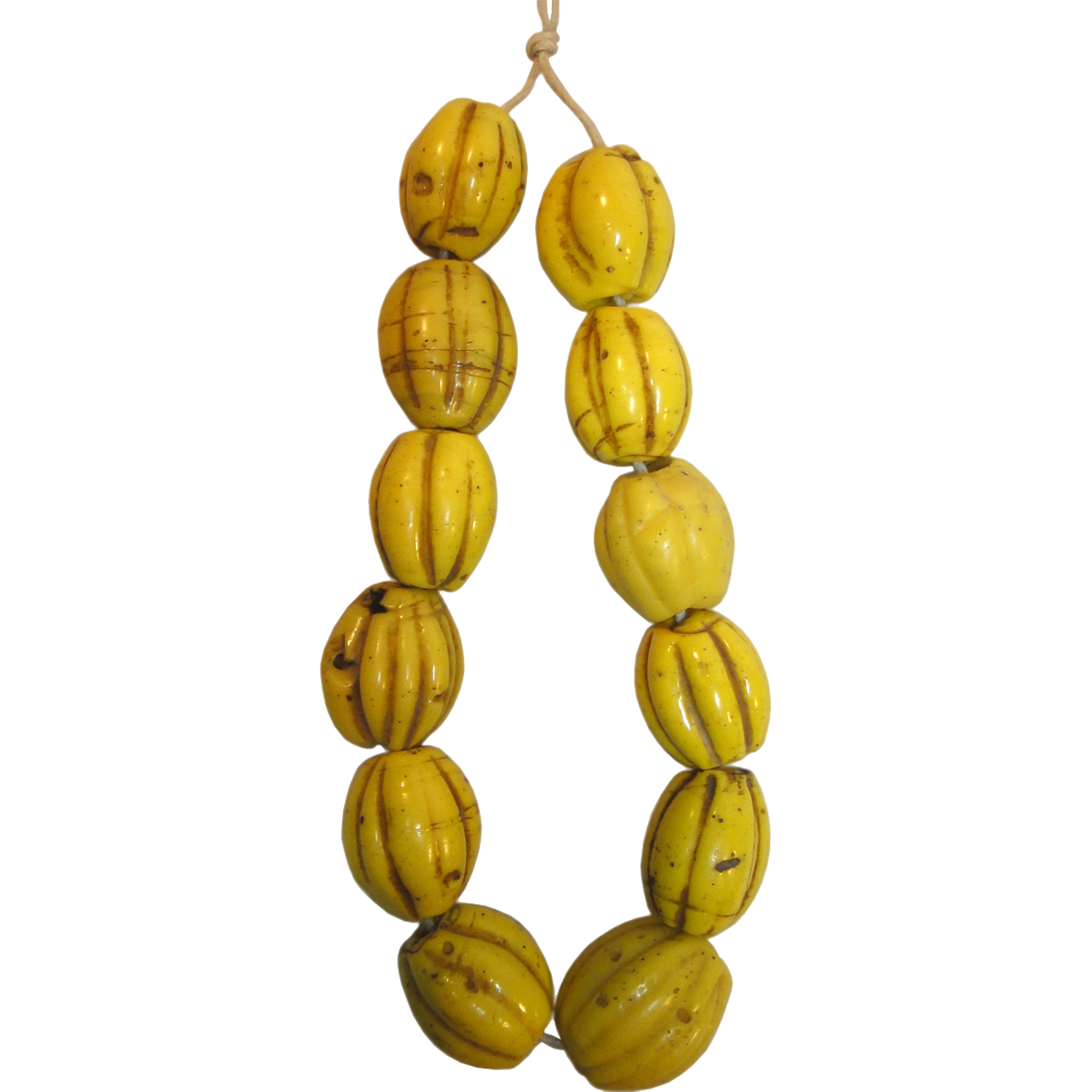 Indonesia, North Coast of Papua, Necklace from Yellow Glass Beads (reverse)