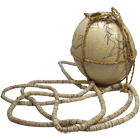 Namibia/Botswana, Ostrich Egg with Necklace from Ostrich Eggshell Beads (Bushman's Beads) (obverse)