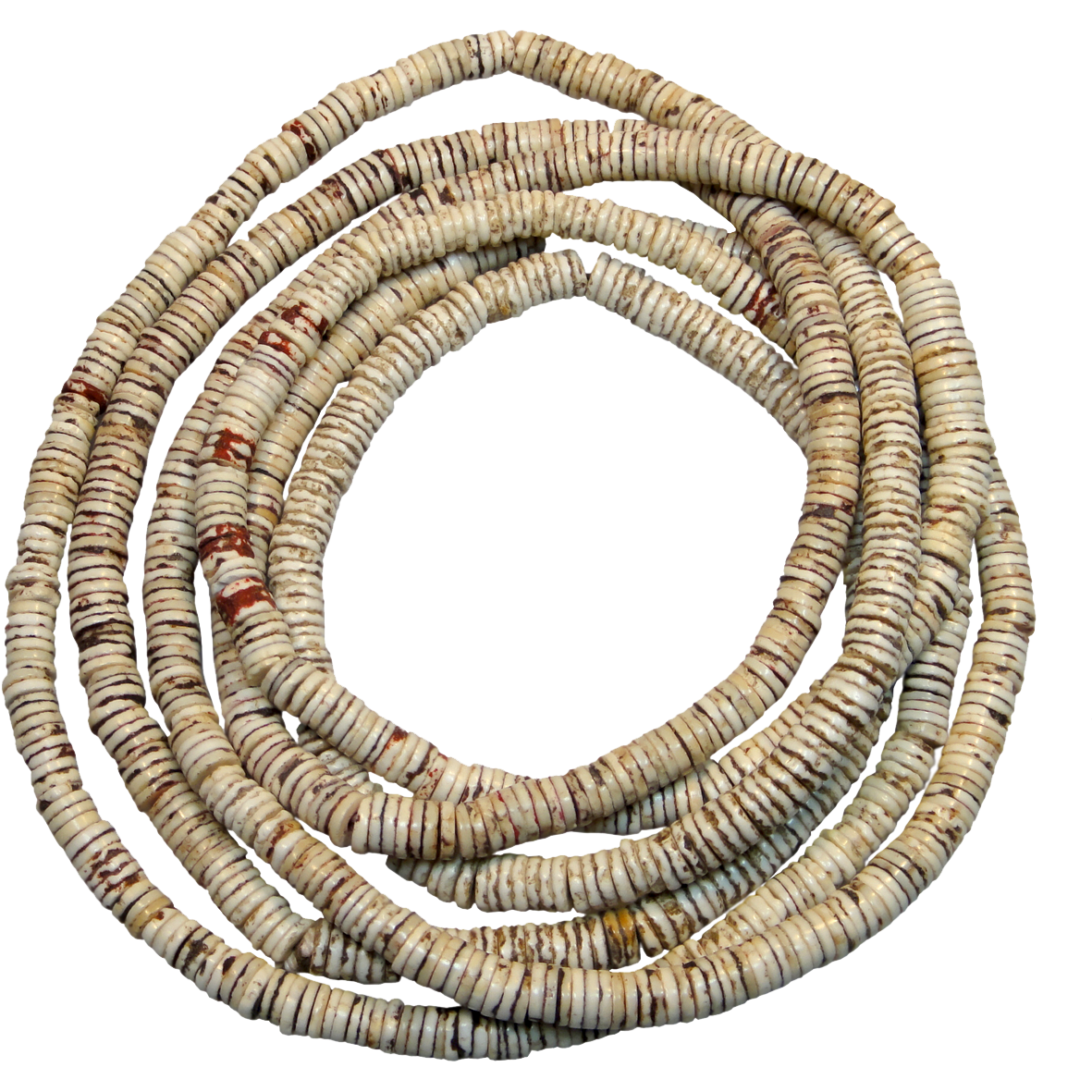 Namibia/Botswana, Ostrich Egg with Necklace from Ostrich Eggshell Beads (Bushman's Beads) (reverse)
