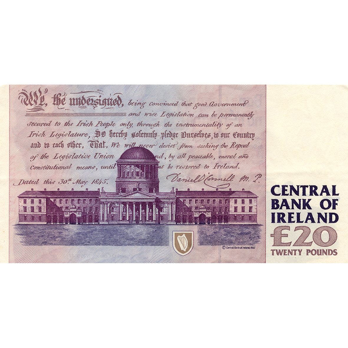 United Kingdom of Great Britain, Republic of Ireland, 20 Irish Pounds (reverse)
