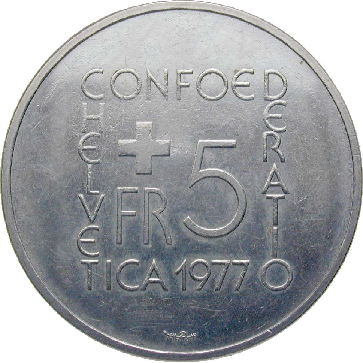 Swiss Confederation, 5 Franks 1977 (reverse)
